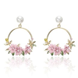 Korean red flowers online shopping - Korean Style Flower Hoop Earrings For Women Golden Color Round Circle Crystal Earrings Gift For Wedding Jewelry