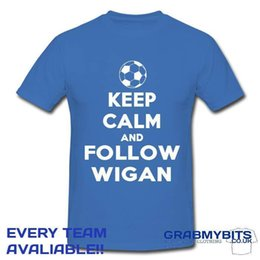 $enCountryForm.capitalKeyWord NZ - PRINTED KEEP CALM FOOTBALL SUPPORTER T SHIRT ADULT KIDS SIZES - WIGAN