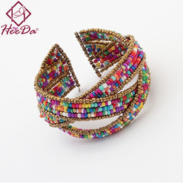 $enCountryForm.capitalKeyWord Australia - Fashion Boho Seed Beads Women Bangle Hot-selling Trend Open Bracelet 6Colors White Green Blue Red Pink Multi Statement Jewelry