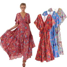 093c3ecfd9db1 Summer Women 2018 Vestidos Long Dress Retro Bohemian Maxi Dress Sexy Deep  V-neck Floral Print Beach Dresses Boho Hippie Robe Y19053001
