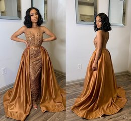 glamorous red mermaid prom dresses UK - Glamorous Brown Mermaid Evening Dresses With Over Train Sheer Neck See Through Sweep Train Appliques Beads Arabic Formal Prom Party Gowns