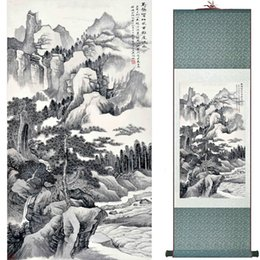 Chinese Floral Paintings Australia - Mountain And River Painting Home Office Decoration Chinese Scroll Painting Landscape Art Painting1906101617