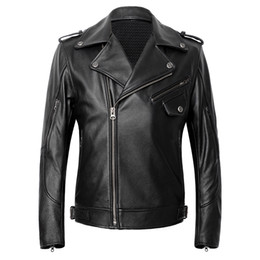 Genuine Motorcycle Jackets Australia - 2019 Black Men American Motorcycle Leather Jacket Plus Size XXXXL Genuine Thick Cowhide Spring Slim Fit Biker Coat FREE SHIPPING