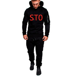 tracksuits for gym men UK - ST0 For Men Printed Long Sleeve Solid Hoodies+Pants Set Male Tracksuit Outdoors Sport Suit Men's Gyms Set Casual Sportswear Suit