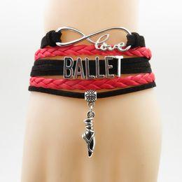 $enCountryForm.capitalKeyWord Australia - love ballet bracelet girl charm leather bracelet for woman and man ballet dancer & bangle