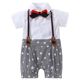 324eb00eef1e AmzBarley Baby Boy Rompers Newborn clothes Suspender Beard Bow Tie  Gentleman Formal Suit 0-18M Cotton Body Suit party costume