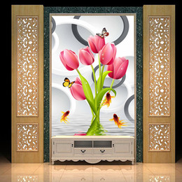 korean wallpaper pink bedroom NZ - Pink Tulips 5D stereo wall paper porch aisle TV background wallpaper living room bedroom Seamless mural wallpaper lily custom