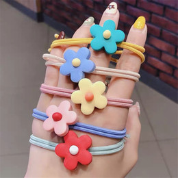 lucite flower hair accessories Australia - Girls Hair Accessories Flower Headband Candy Color Rope Ring Pigtail Holder Kids Scrunchies Rubber Hair Bands for Girls