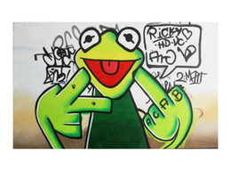 painting green Australia - Street Urban Graffiti Green Kermit Frog Home Decor Handpainted &HD Print Oil Painting On Canvas Wall Art Canvas Pictures 200706