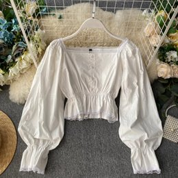 Square Shirt women online shopping - Women Retro Square Collar Lace Stitching Long Sleeve Waist Slimming Casual Shirt Lady Solid Color Blouse Tops J930