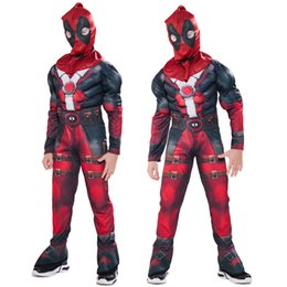 deadpool costume black UK - Free shipping Deadpool 2 Cosplay Costume For Boys Halloween Cosplay Party Children's Clothes Kids Carnival Performing Muscle stage outfits