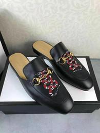 "Heels For Men NZ - Designer slippers for men Princetown embroidered slipper Kingsnake appliqué Horsebit detail Moccasins 5"" heel height men\'s shoes"