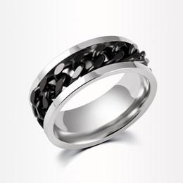 Punk Rings Australia - New Black Chain Band Ring for Men Punk Titanium Steel Metal Golden Finger Jewelry for women