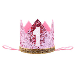 number one wholesales Australia - Happy First Birthday Party Hats Decor Cap One Birthday Hat Princess Crown 1st Year Old Number Baby Kids Hair Accessory