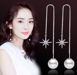 Threaded Pearls Australia - Simple fashionable star ear thread with star-shaped octagon and star-shaped star ear thread girl's pearl ear ornament W1151