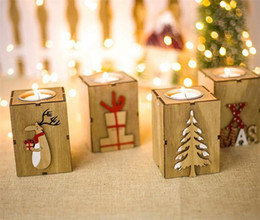 Discount thin tea - Hot Home Festive Christmas Wood Candle Holder Candlestick Table Lamp For Tea Light Decoration