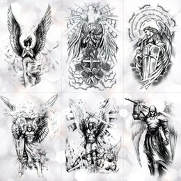 Tatouages ​​temporaires Aile Saint Ange Tatouages ​​Waterproof chevalier temporaire autocollant de tatouage Brave guerrier flash Body Art Bras Faux Tatoo