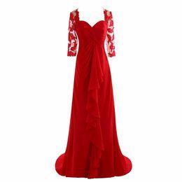 $enCountryForm.capitalKeyWord UK - Elegant Sheer Half Sleeves Appliques Chiffon Mother Of the Bride Dresses for Weddings Vintage Red Button Back Long Evening Formal Dress