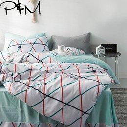 $enCountryForm.capitalKeyWord Australia - PAPA&MIMA Color strip print fashion style bedding sets Cotton washed cotton Queen Size duvet cover set bedsheet pillowcases