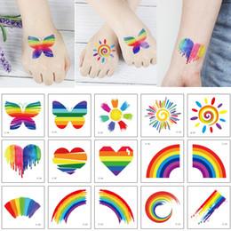 $enCountryForm.capitalKeyWord Australia - Small Rainbow Temporary Tattoo Sticker Butterfly Sunshine Heart Decal Transfer Paper Design for Cute Kid Women Body Neck Arm Face Art Tattoo