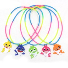 Discount kids cartoon necklaces - Kids Baby Shark Necklace Children Silicone Fashion Rainbow Cartoon Jewelry Charm Soft PVC Pendant Children Party Gifts T