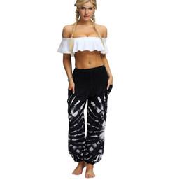 $enCountryForm.capitalKeyWord UK - Tie Dye Floral Casual Wide Leg Yoga Harem Pants High Waist Loose Elastic Waist Baggy Boho Palazzo Trousers Plus Size Beach pants