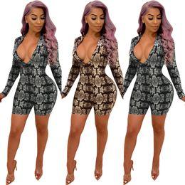 e91a8b7c4 Full bodysuits Fashion online shopping - Deep V Neck Sexy Skinny Playsuit  Hot Sale Snakeskin Printed