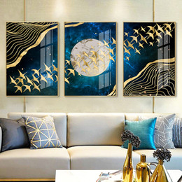 Discount moon painting abstract - Abstract Moon Wall Art Canvas Painting Golden Mountain Birds Nordic Posters and Prints Wall Pictures for Living Room Hom