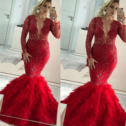 sexy v neck lace dresses NZ - Charming Red 2020 Prom Dresses Gorgeous Lace Beading Mermaid Feather Evening Gowns Sexy Deep V Neck Long Sleeves Tiers Skirt Pageant Dress