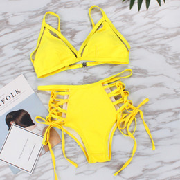yellow swimsuits women NZ - 2019 Vintage Neon Yellow Bikini Set Sexy Swimsuit Women Swimwear High Waist Bathing Suit Push Up Bandeau Brazilian Bikinis