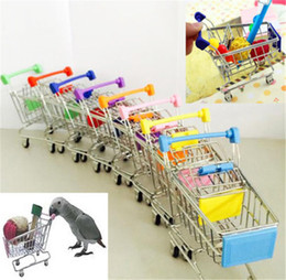 Toy hamsTer peTs online shopping - New Mini Supermarket Shopping Cart Colorful Funny Pretend Play Toys Trolley Pet Bird Parrot Hamster Toy