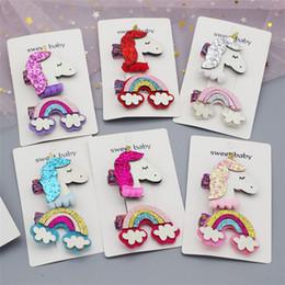 $enCountryForm.capitalKeyWord NZ - 6 Colors Unicorn Baby Girls Sequin Hair Clips Rainbow Design Kids Girl Barrettes Set (2pc) For Kids Boutique Bows Children gift FJ377