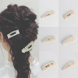 Discount simple wedding hair styles - 1PC Women Stylish Metal Full Pearl Hairpins Lady Simple Hair Clips Barrettes Headwear Hair Styling Tools Accessories 6 S
