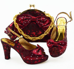 $enCountryForm.capitalKeyWord Australia - Hot sale wine women dress shoes with rhinestone and butterfly knot style african pumps match handbag set MM1089,heel 10CM