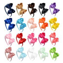 Ribbon Bowknot Bow Headband Australia - 4inch Girls Bowknot Hairband Children Baby Bow Boutique Headband Solid Collor Ribbon Headwear Chirstmas Gift Hair Accessory 20 Colors 2019