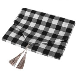 linen cotton tablecloth UK - Black & White Grid Cotton Linen Tablecloth Table Cover Clean Mat Pad with Tassel Anti-Wrinkle