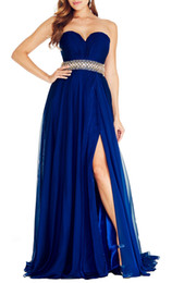 Chinese  Royal Blue Strapless A Line Evening Dress Elegant Beautiful Peplum Beading Side Split Dresses Sexy Sweep Train Evening Formal Gowns manufacturers