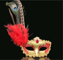 Female Half Face Mask Australia - Adult children dance party mask peacock feather mask sexy sexy Venice princess mask female half face Y025