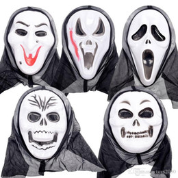 grim reaper traje  al por mayor-2018 venta caliente máscaras de Halloween Screaming Ghost Festival Ghost Face Party Ghosts Grim Reaper Mask Disfraces de Halloween al por mayor