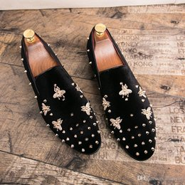 a993b02ee4a Designer Bee Metal Rivet Men Loafers Velvet Shoes Luxury Brands Men s Dress  Shoes Fashion Men s Flats Wedding Oxford Shoes M-7