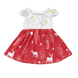 53c67857b58d9 Christmas Girls Dresses Toddler Infant Kids Baby Girls Deer Floral Printed  Short Sleeve Button Princess Dress Party Dress S11#F