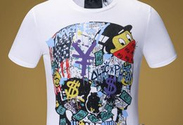 db5b7ebb9e Mens Carta de Dinheiro de Luxo Imprimir Camisetas Marca de Manga Curta  Tshirt Desenhador Pato Tees Moda Masculina Solto Streetwear Tees Tops