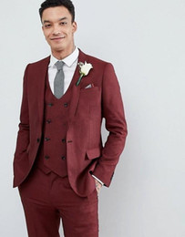 tuxedo lapel styles Australia - New Style One Button Wine Wedding Groom Tuxedos Peak Lapel Groomsmen Men Suits Prom Blazer (Jacket+Pants+Vest+Tie) 153
