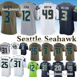 Fans 12 online shopping - 31 Kam Chancellor Fan Seattle jerseys Seahawk Russell Wilson Richard Sherman Rashaad Penny jersey Design sweater