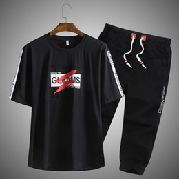 Tshirt Suit NZ - Summer Sports and Leisure Suit for Teenagers Tshirt Loose Size Mens Halfsleeve Clothes Students7point Trousers