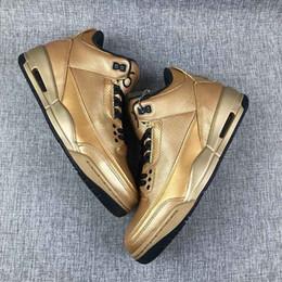 457c180271e Drake Ovo Shoes NZ - Limited 3 Drake OVO x 3 6ix All Gold Men Basketball