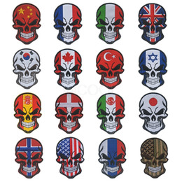 $enCountryForm.capitalKeyWord Australia - 100PCS Halloween Skull Flag Embroidery Patches Tactical Morale Patch Emblem Embroidered Badges for Jackets Backpack Cap Wholesale