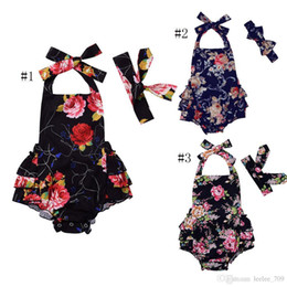 $enCountryForm.capitalKeyWord UK - Ins Baby Girl Toddler 2piece Set Outfits Rose Floral Romper Onesies Jumpsuits Dress Bow Headband Backless Ruffles Tutu Halter Pants