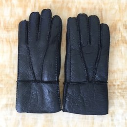 Real Leather Gloves For Men Australia - Men Gloves Winter Warm Genuine Sheep Fur Gloves for Men Thermal Goat Fur Cashmere Real Leather Leather Snow Manual X11