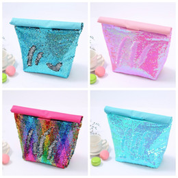 eco friendly ice packs UK - Multi Function Collapsible Laser Sequins Lunch Bags Aluminum Film Students School Mermaid Food Ice Pack Eco Friendly 12hh H1